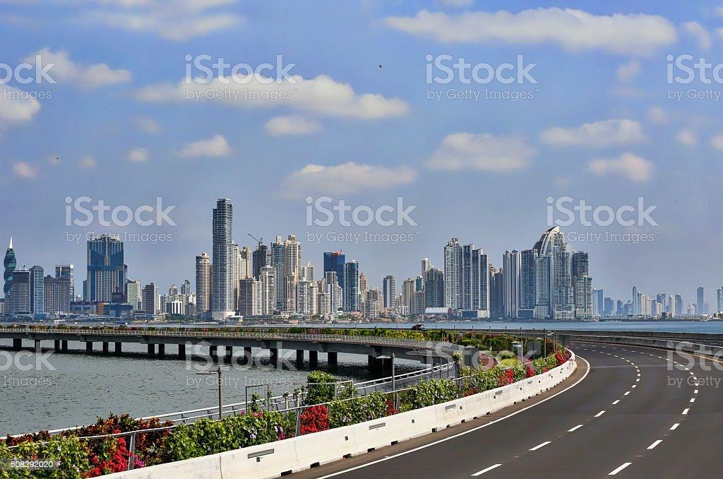 Panama City, Panama. Causeway and Skyline, Financial District stock photo