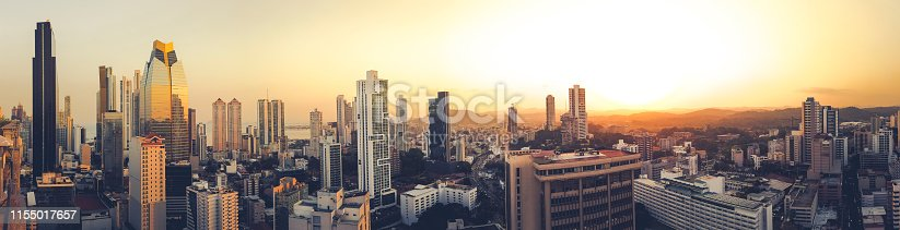 huge skyscraper in panama city at sunset, panama panorama view, central america.