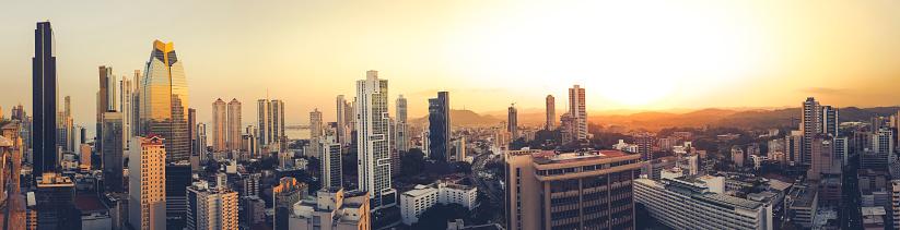 Panama City Panorama Skyline At Sunset Panama Stock Photo ...