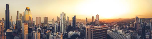 panama city panorama skyline at sunset, panama stock photo