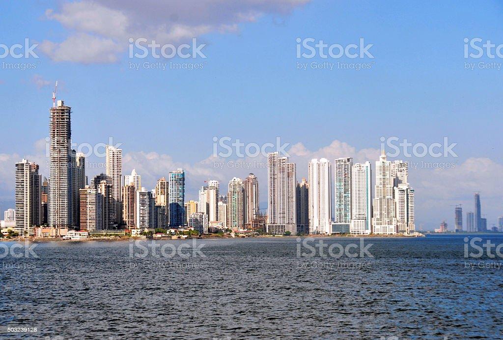 Panama city - Punta Paitilla skyline from las las Bovedas stock photo