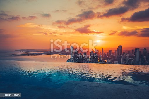 beautiful view over panama city at sunset.