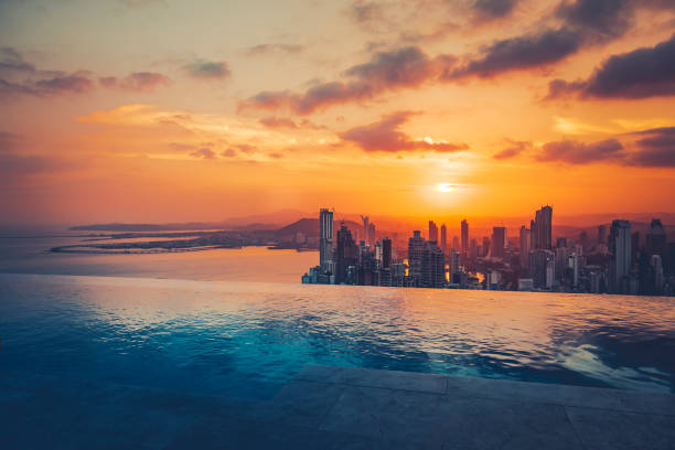 panama city skyline at sunset beautiful view over panama city at sunset. central america stock pictures, royalty-free photos & images