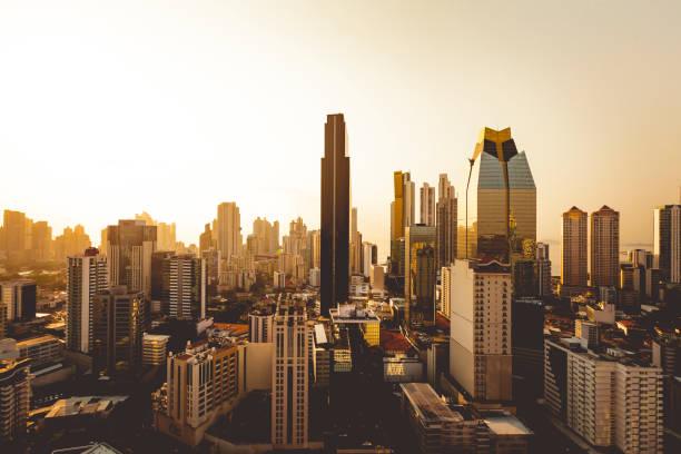panama city skyline at sunset stock photo