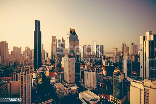 panama city skyline at sunset in panama, central america.