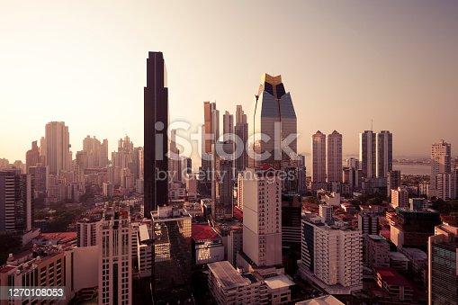 panama city skyline at sunset, panama.