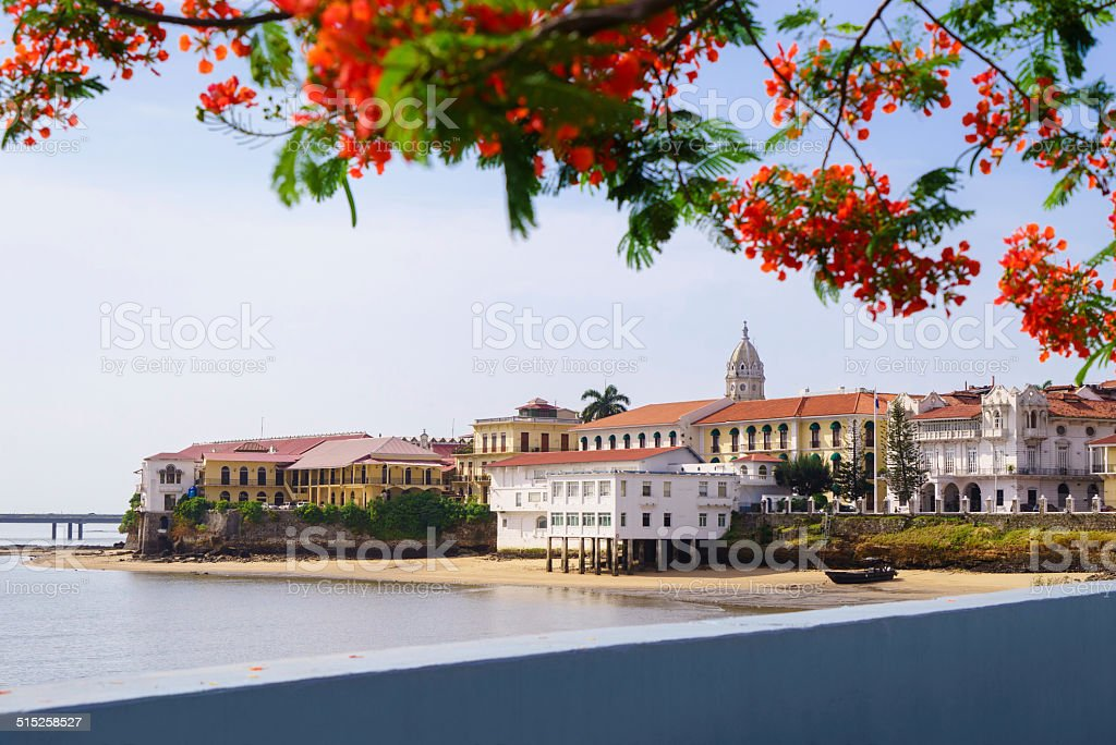 Panama City view old casco viejo antiguo stock photo