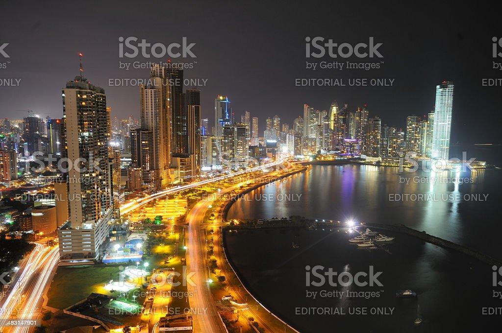 Panama City's skyline by night stock photo