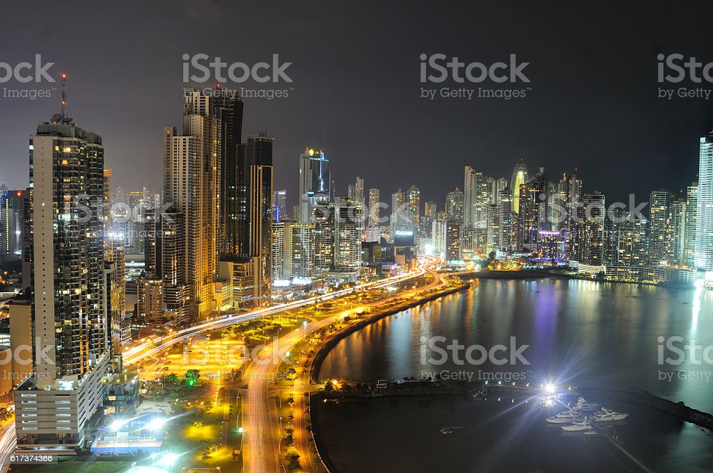 Panama City's skyline by night stock photo