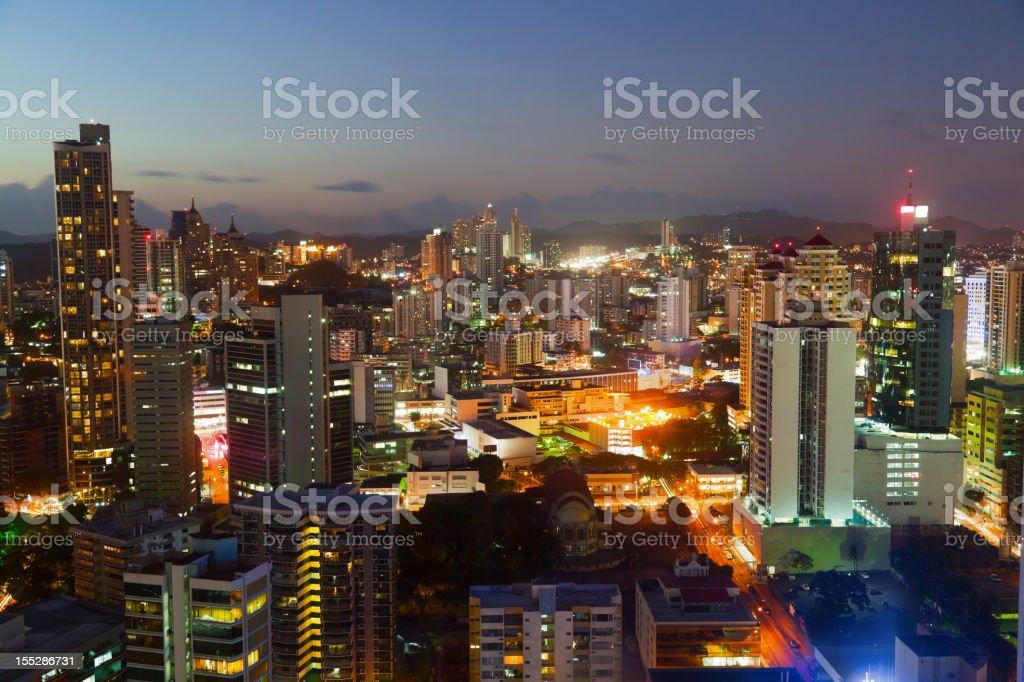 Panama' cityscape illuminated at night royalty-free stock photo