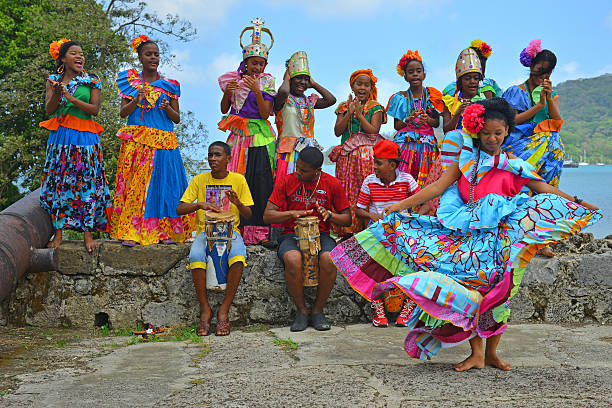 panama dancers - caribbean culture stock pictures, royalty-free photos & images