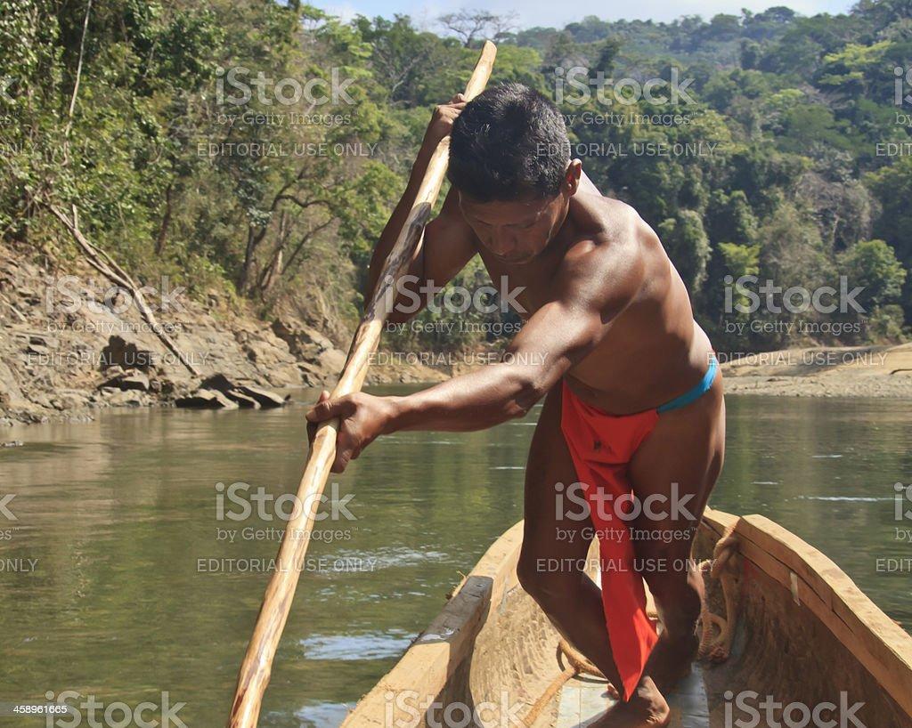 Panama: Embera Boatman on the Chagres River stock photo