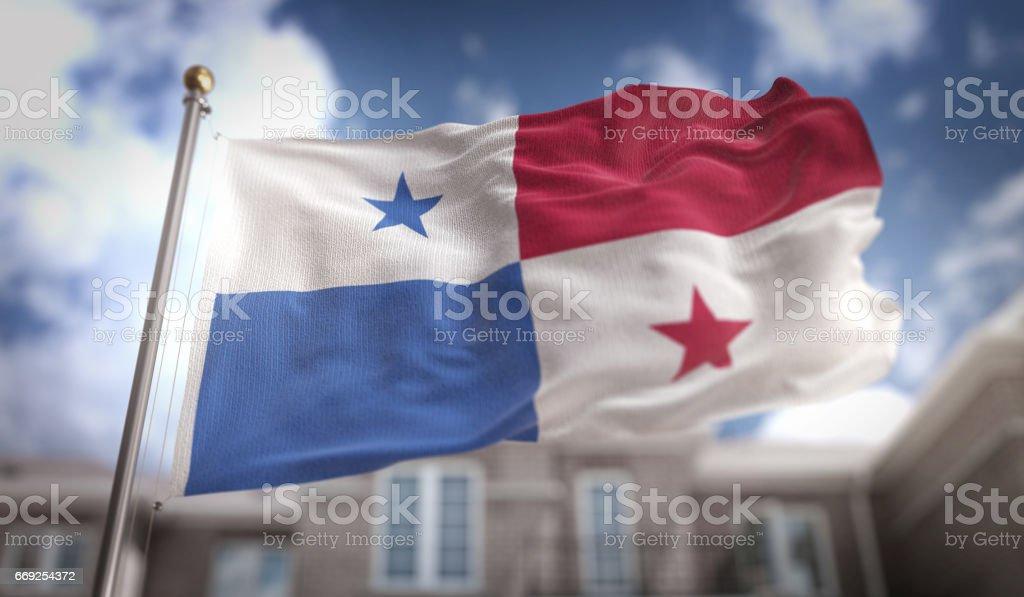 Renderização 3D de Panamá bandeira sobre fundo azul céu edifício - foto de acervo