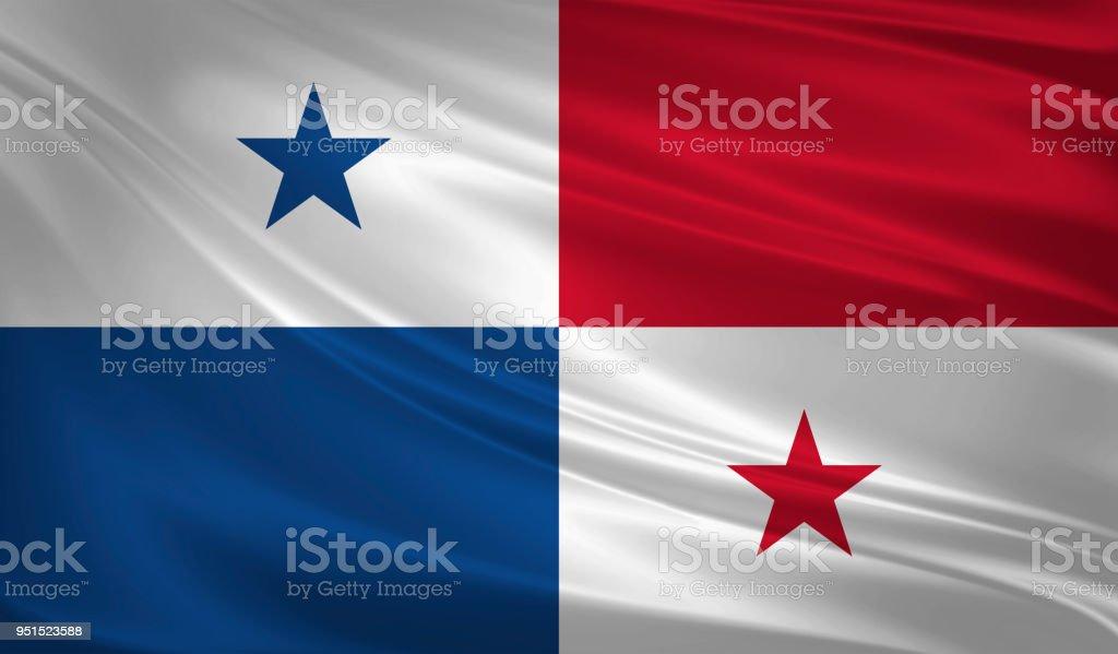 Bandeira do Panamá ao vento. Textura de fundo. renderização 3D, acenando uma bandeira. - foto de acervo