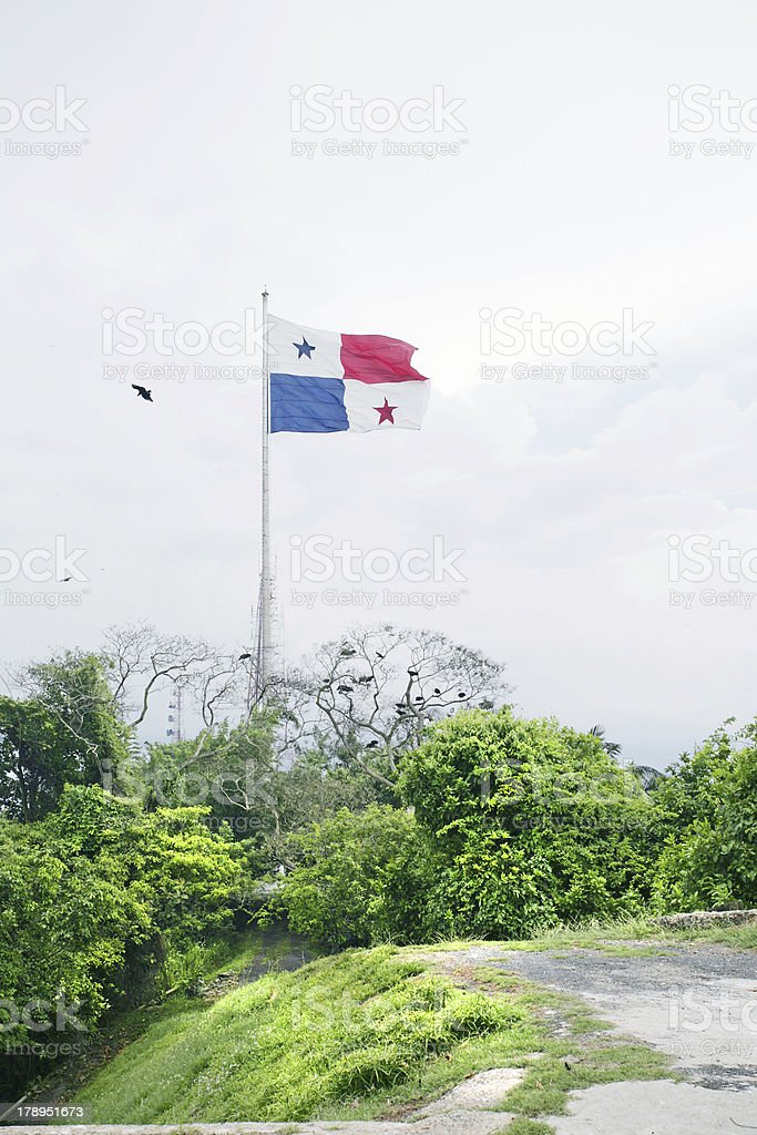 Panama Flag in the Ancon Hill royalty-free stock photo