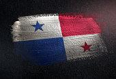Panama Flag Made of Metallic Brush Paint on Grunge Dark Wall