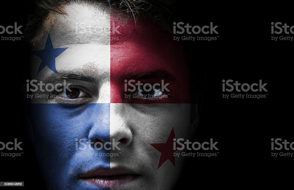 Bandeira do Panamá no rosto - foto de acervo