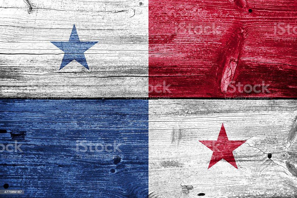 Bandeira do Panamá pintado com textura de madeira antiga - foto de acervo