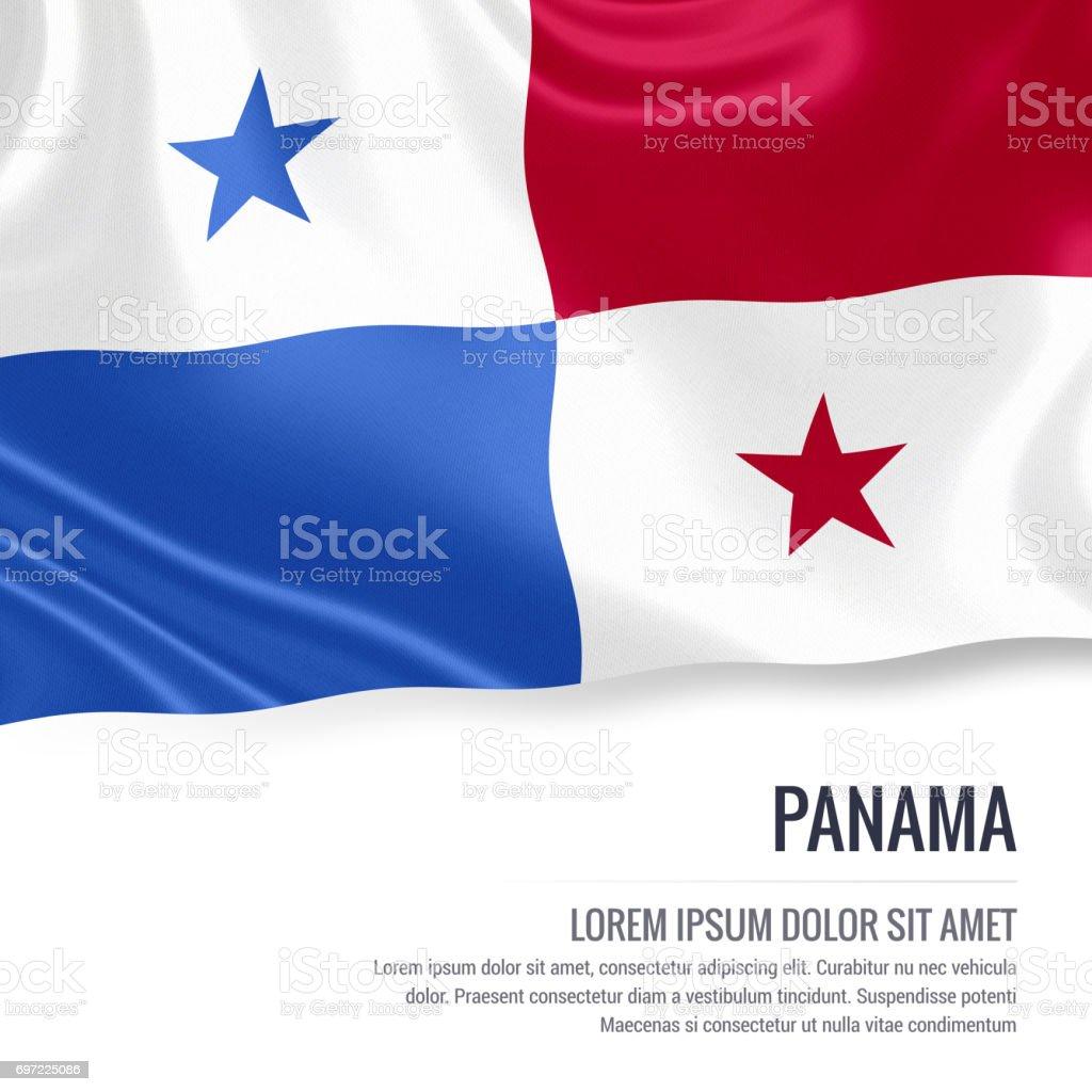 Bandeira do Panamá. Seda bandeira do Panamá acenando em um fundo branco isolado com a área de texto em branco para sua mensagem de anúncio. Renderização 3D. - foto de acervo