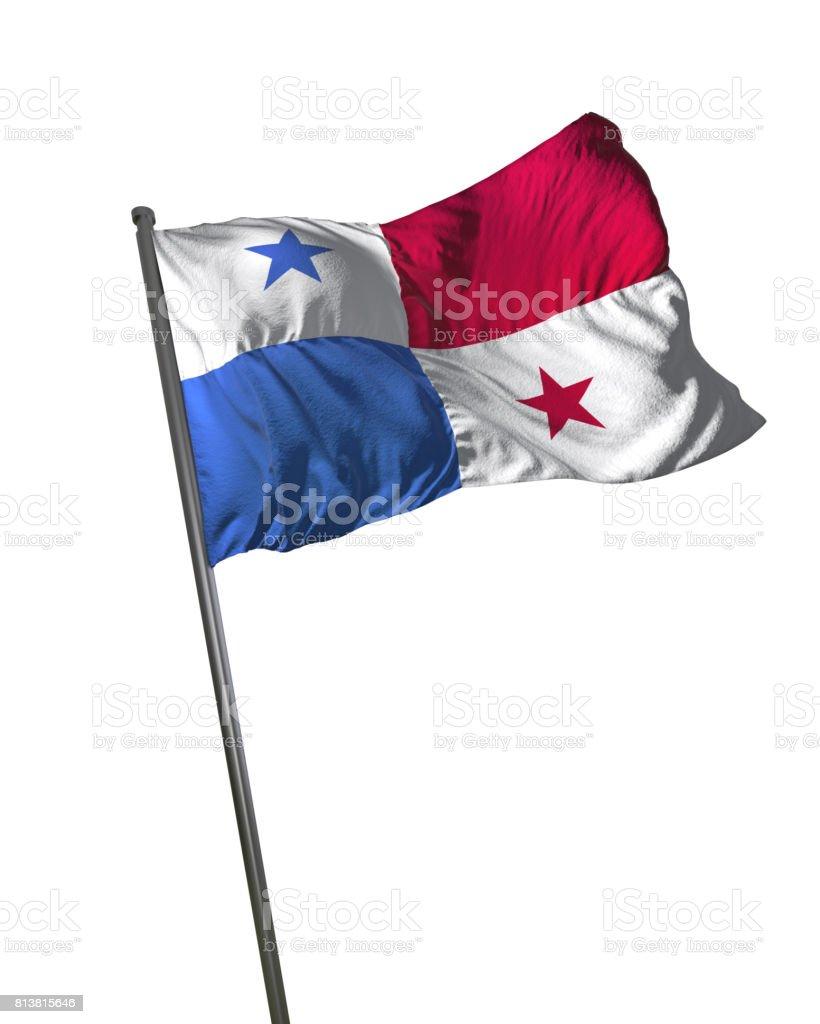 Panamá bandeira acenando isolado no fundo branco retrato - foto de acervo