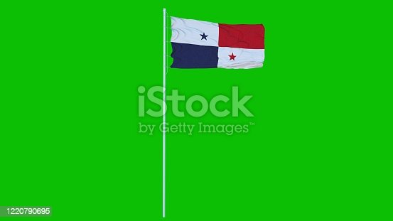 istock Panama Flag Waving on wind on green screen or chroma key background. 3d rendering 1220790695