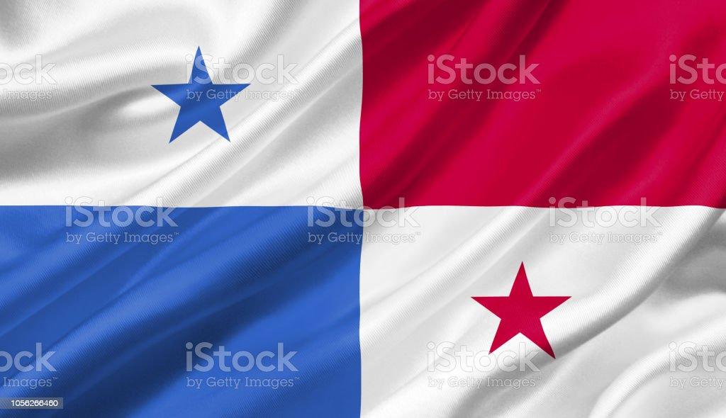 Bandeira do Panamá balançando com o vento, ilustração 3D. - foto de acervo