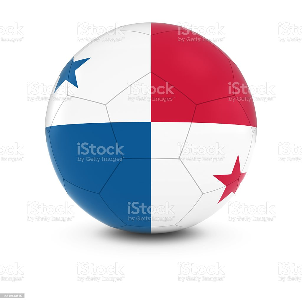 Panamá futebol-panamenho Bandeira na bola de futebol - foto de acervo