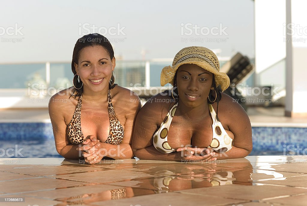 Panama Girls in the  Pool royalty-free stock photo