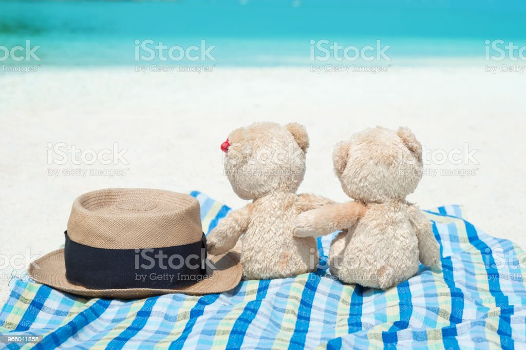 Panama hat and Two teddy bears sitting sea view. Love and relationship concept. - Royalty-free Beach Stock Photo