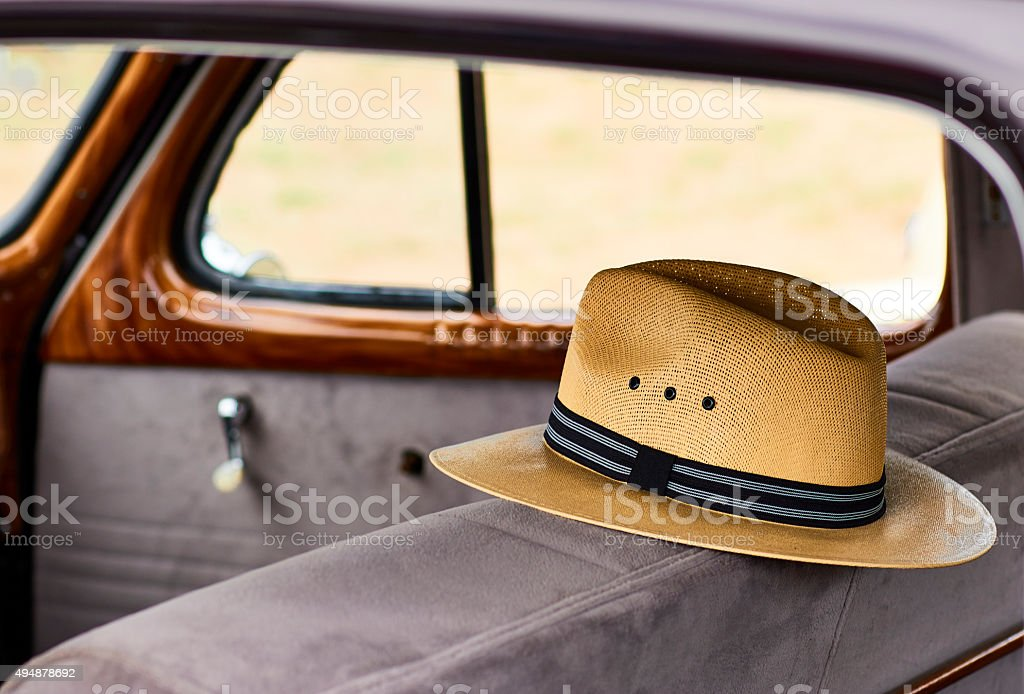 Panama Hat in Vintage Automobile stock photo