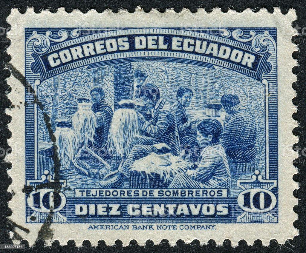 Panama Hat Making Stamp stock photo