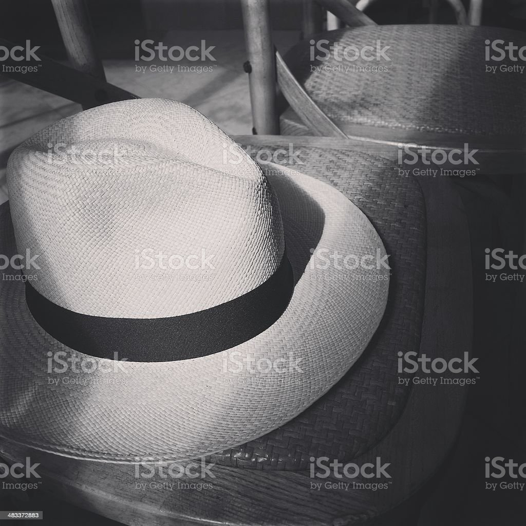 Panama hat put on the chair stock photo