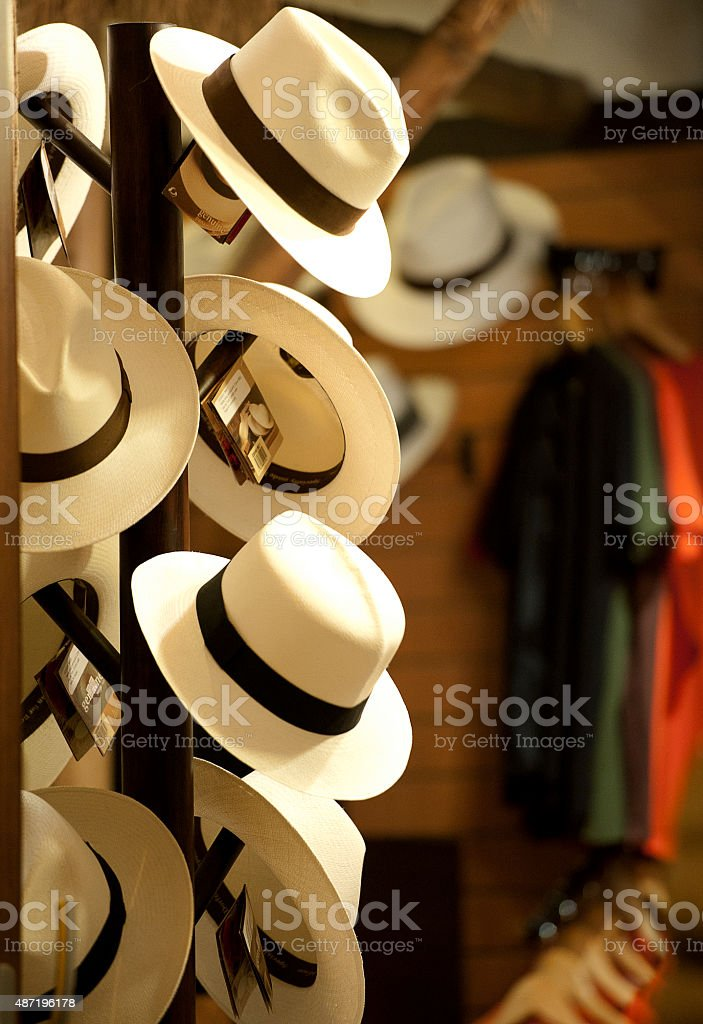 Panama hats on display in La Ronda, Quito, Ecuador stock photo