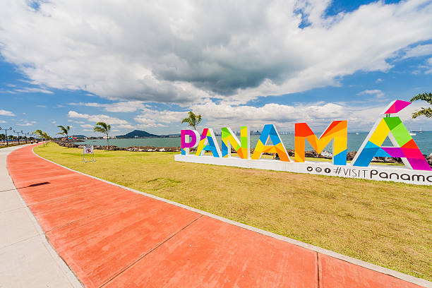 Panama lettering on the Causeway in Panama City – Foto