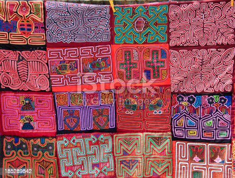 Panama: Molas (decorative embroidered cloth panels) made by women of the Kuna People living on the San Blas IslandsMore photos of Panama are in