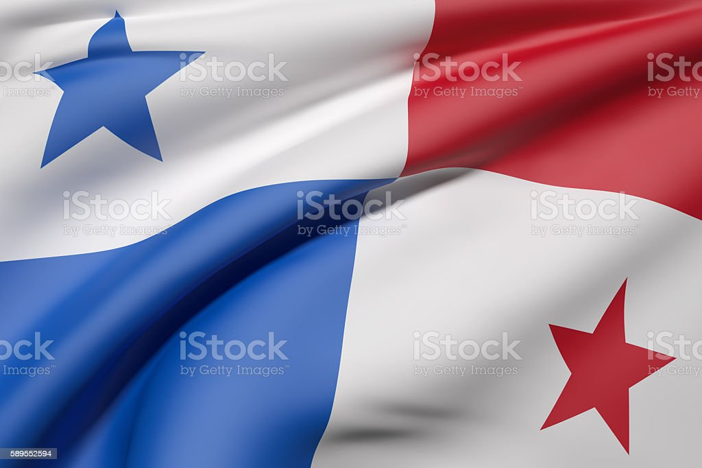 Panama Republic flag waving stock photo