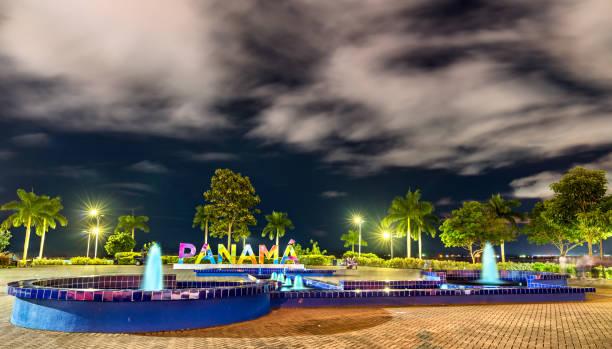 Panama Sign at Amador Causeway in Panama City stock photo