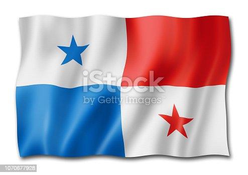 istock Panamanian flag isolated on white 1070677928