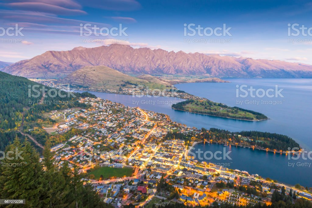 Panaramic view of famaus place at south island Queenstown stock photo