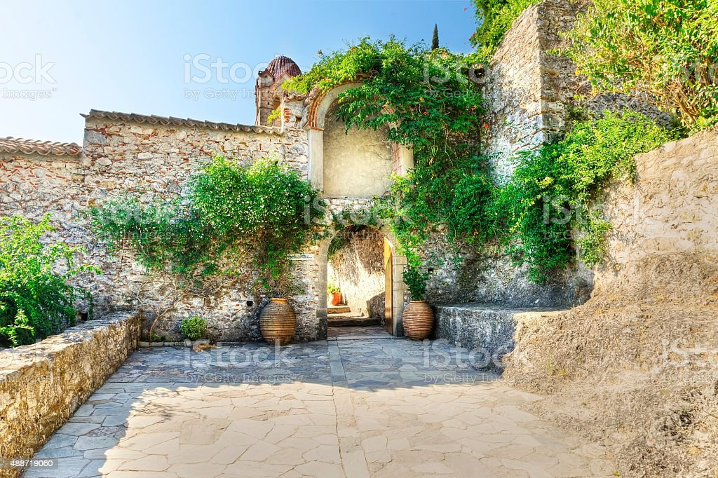 Panayia Pantanassa monastery at Mystras in Greece stock photo