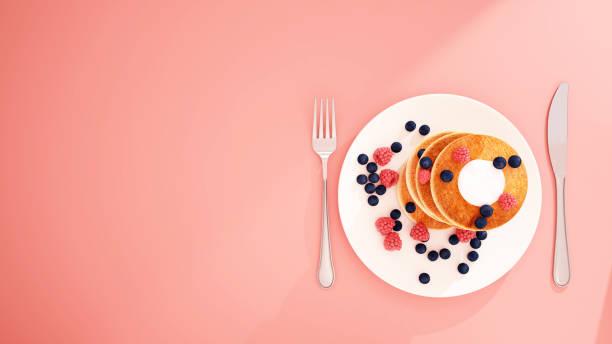 Heidelbeer Pfannkuchen und Berry auf weiße Schale in rosa Hintergrund - Bäckerei auf rosa Hintergrund für Artwork - Frühstück aller wie - 3D Rendering – Foto