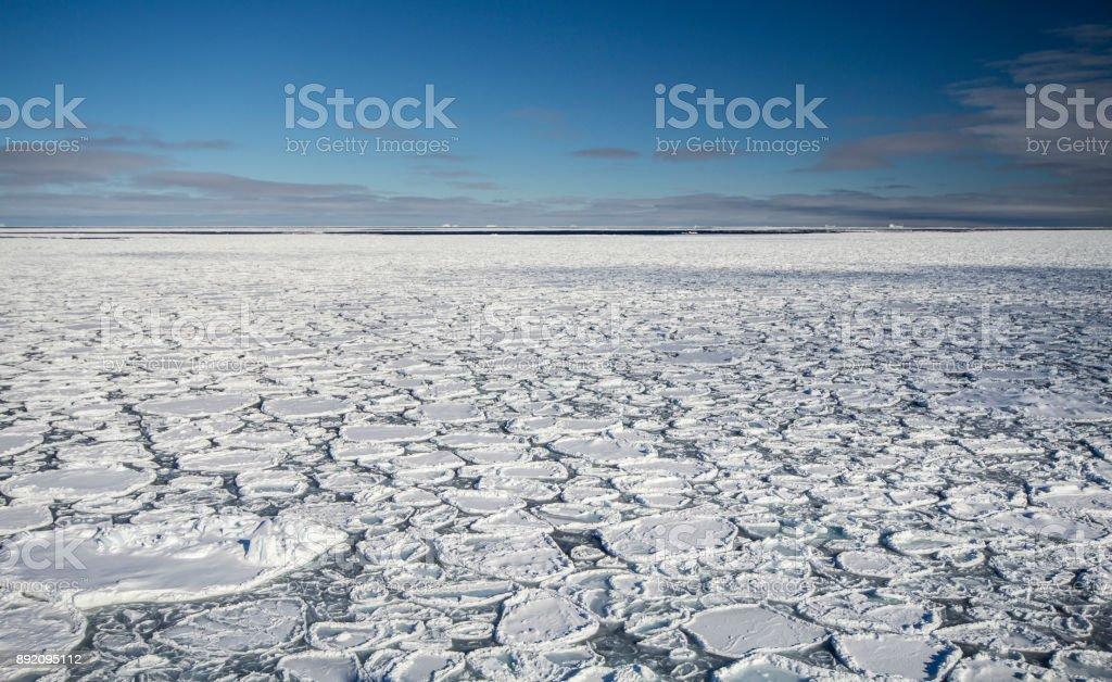 Pancake ice at southern ocean stock photo