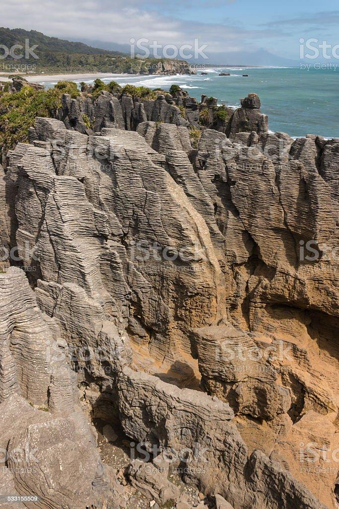 Pancake rocks at Punakaiki stock photo