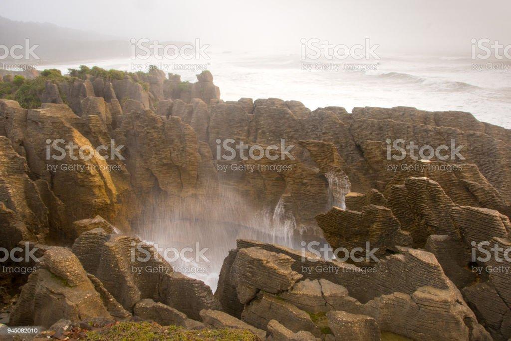 Pancake Rocks blowhole at Punakaiki 1 stock photo
