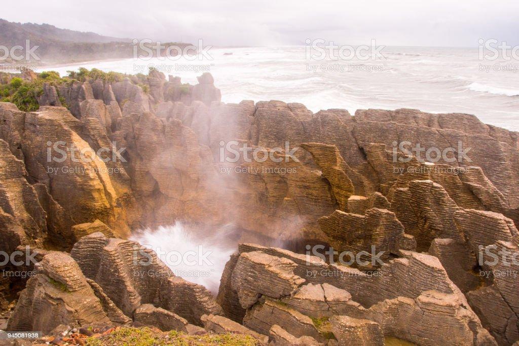 Pancake Rocks blowhole at Punakaiki 10 stock photo
