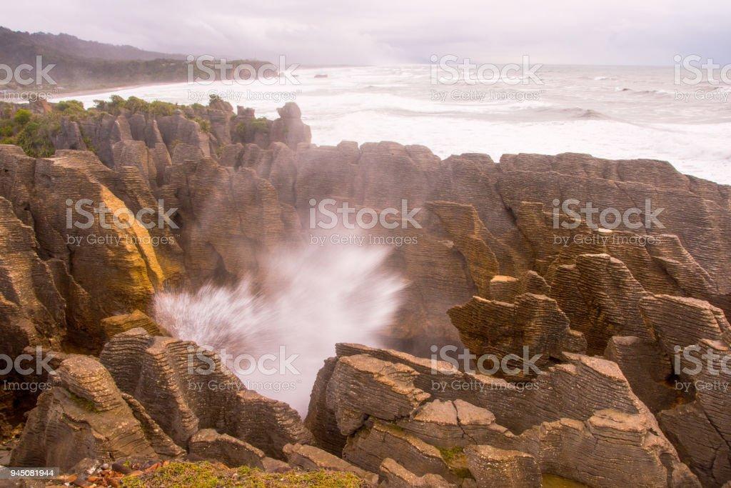 Pancake Rocks blowhole at Punakaiki 11 stock photo