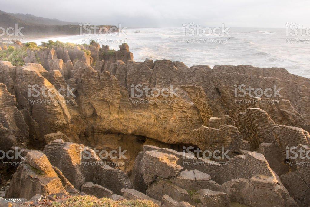 Pancake Rocks blowhole at Punakaiki 2 stock photo