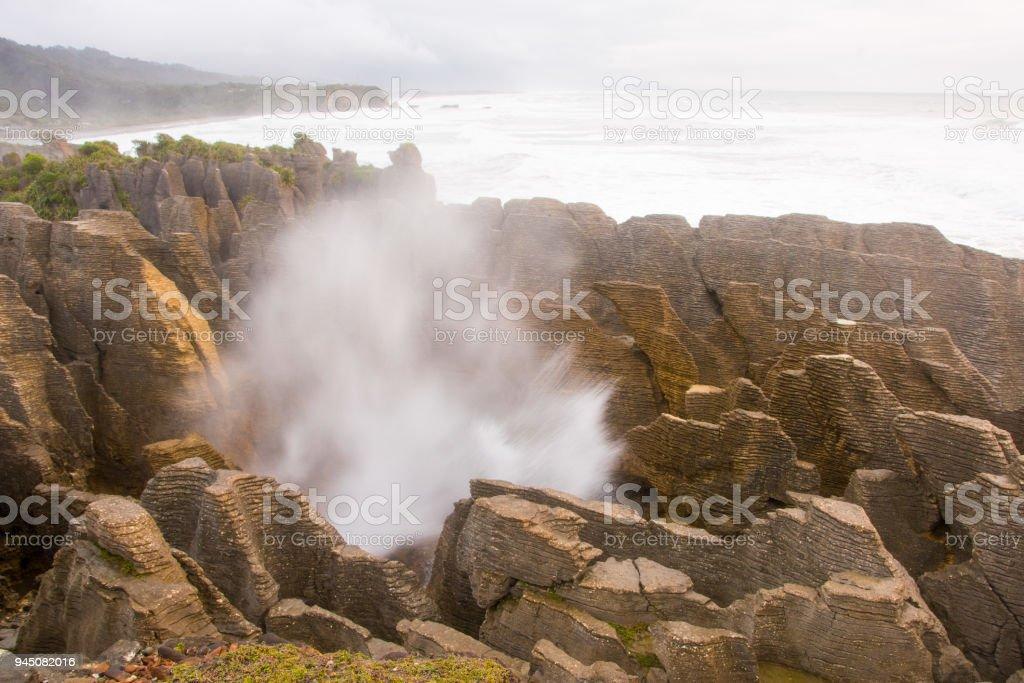 Pancake Rocks blowhole at Punakaiki 3 stock photo