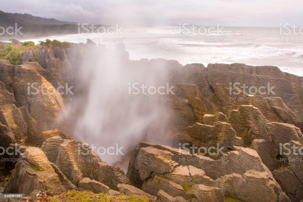 Pancake Rocks blowhole at Punakaiki 4 stock photo