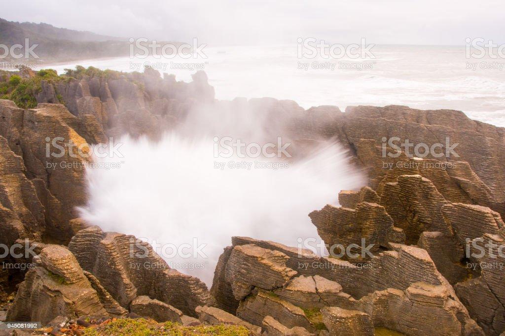 Pancake Rocks blowhole at Punakaiki 5 stock photo